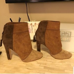 """Joie """"Briona"""" patchwork booties size 8 used once."""